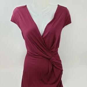 Ann Taylor Dresses - Ann Taylor Women's Maroon Stretch Faux Wrap Dress
